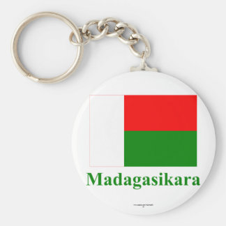 Madagascar Flag with Name in Malagasy Basic Round Button Keychain