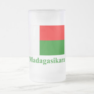 Madagascar Flag with Name in Malagasy Frosted Glass Beer Mug