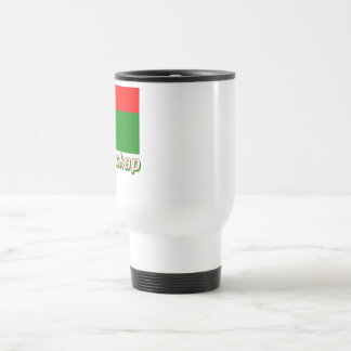 Madagascar Flag with name in Russian Travel Mug