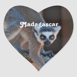 Madagascar Lemur Heart Sticker