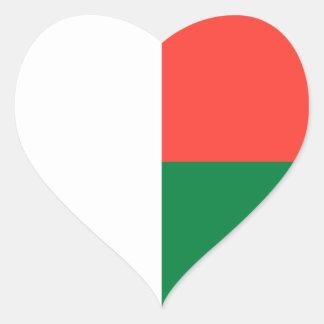 Madagascar/Malagasy Flag Heart Sticker