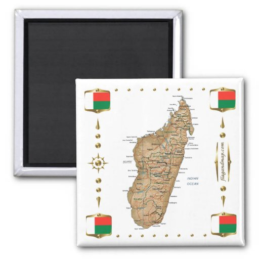 Madagascar Map + Flags Magnet