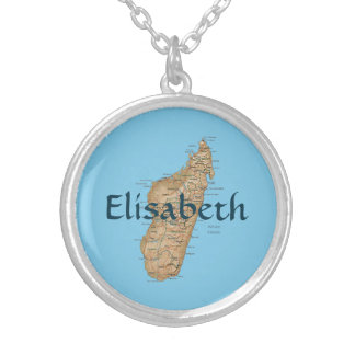 Madagascar Map + Name Necklace