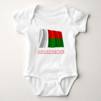 Madagascar Waving Flag with Name Baby Bodysuit