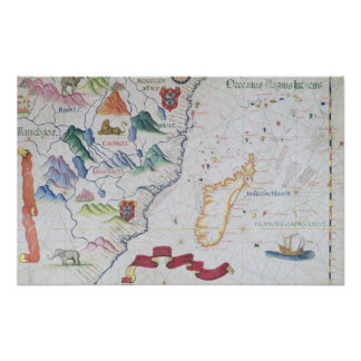 Madagascar y costa costa africana del este poster