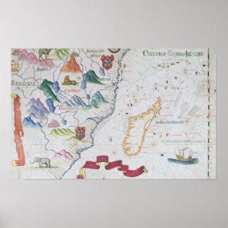 Madagascar y costa costa africana del este póster