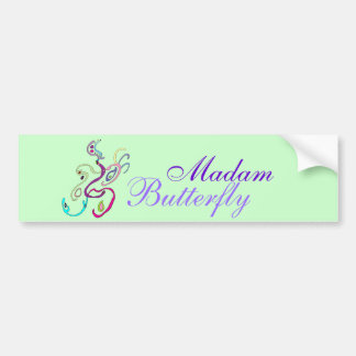Madam Butterfly, Graphic Illustration Car Bumper Sticker