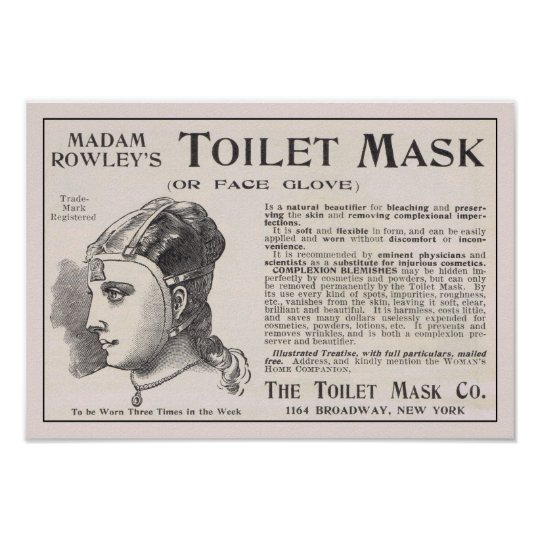Madam Rowley's Toilet Mask Advertisement Poster