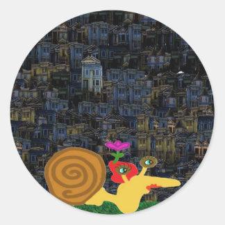 Madam Snail Makes Her Nightly Trails Classic Round Sticker