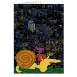 Madam Snail Takes A Nightly Tour Of The Neighbors Card