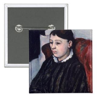 Madame Cezanne, c.1883-85 (oil on canvas) 2 Inch Square Button