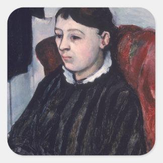Madame Cezanne, c.1883-85 (oil on canvas) Square Sticker