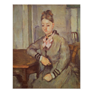 Madame Cezanne Leaning on a Table, 1873-77 Poster