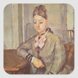 Madame Cezanne Leaning on a Table, 1873-77 Square Sticker