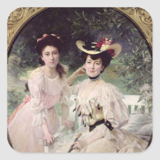 Madame Collas and her Daughter, Giselle, 1903 Square Sticker