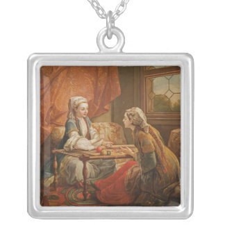Madame de Pompadour in the role of fortuneteller Silver Plated Necklace