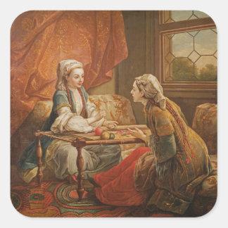 Madame de Pompadour in the role of fortuneteller Square Sticker