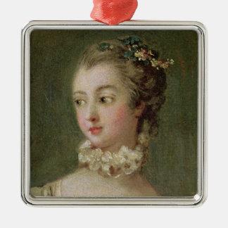 Madame de Pompadour Square Metal Christmas Ornament