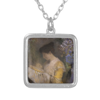 Madame Fontaine Doing Needlework Silver Plated Necklace