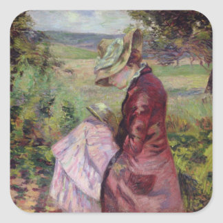 Madame Guillaumin reading, c.1887 Square Sticker