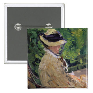 Madame Manet at Bellevue 2 Inch Square Button