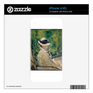 Madame Manet (Suzanne Leenhoff, 1830–1906) Decal For iPhone 4