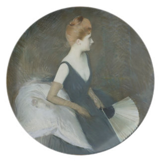 Madame Marthe Letellier Sitting on a Sofa Dinner Plate