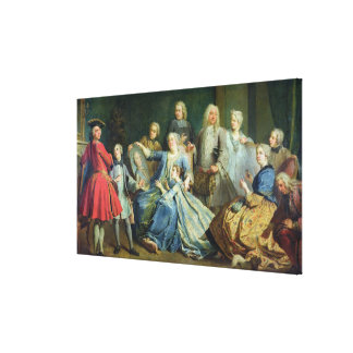 Madame Mercier  Surrounded by her Family, 1731 Canvas Print