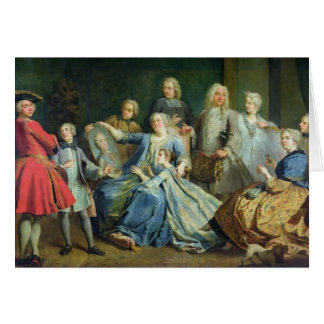 Madame Mercier  Surrounded by her Family, 1731 Card