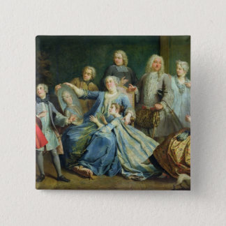 Madame Mercier  Surrounded by her Family, 1731 Pinback Button