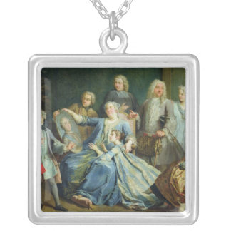 Madame Mercier  Surrounded by her Family, 1731 Silver Plated Necklace