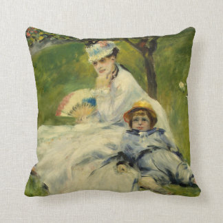 Madame Monet and her Son by Auguste Renoir Throw Pillow