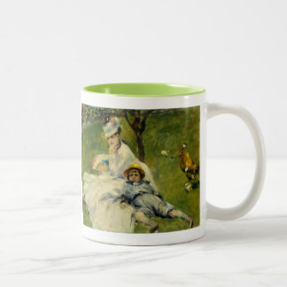 Madame Monet and her Son by Auguste Renoir Two-Tone Coffee Mug