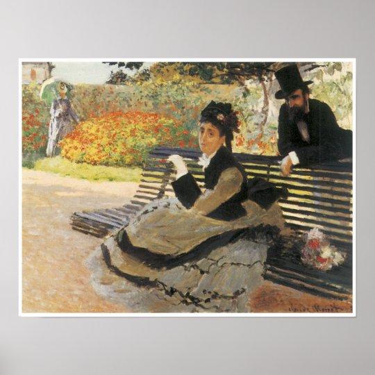 Madame Monet on a Garden Bench, 1873 Poster