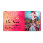 MADAME POMPADOUR ,bright pink blue green Shipping Label