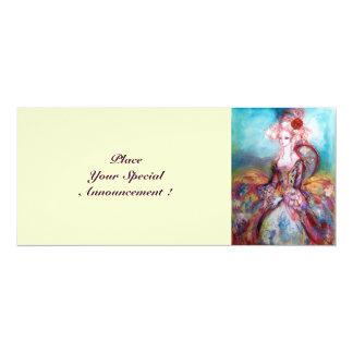 MADAME POMPADOUR ,Classy Gold Costume Party 4x9.25 Paper Invitation Card