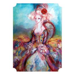 MADAME POMPADOUR Pink Gold Sparkles Costume Party Card