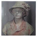 Madame Renoir, 1916 (polychrome plaster) Large Square Tile