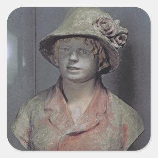 Madame Renoir, 1916 (polychrome plaster) Square Sticker