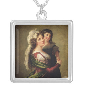Madame Rousseau and her Daughter, 1789 Silver Plated Necklace