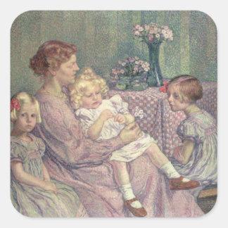 Madame van de Velde and her Children, 1903 Square Sticker