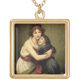 Madame Vigee-Lebrun and her Daughter Gold Plated Necklace