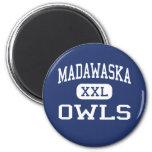 Madawaska - Owls - Middle - Madawaska Maine 2 Inch Round Magnet