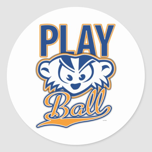 MadBadger PLAY BALL Round Stickers