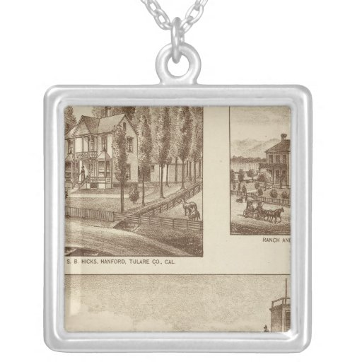 Madden residence, Water Works Square Pendant Necklace