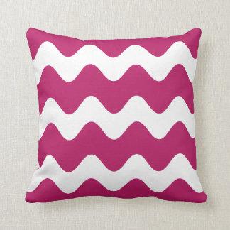 Madder Carmine Wave Pattern Throw Pillow
