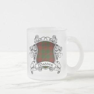 Madder Tartan Shield 10 Oz Frosted Glass Coffee Mug