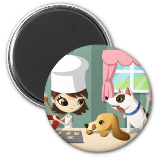 Maddi and the Hungry Pups 2 Inch Round Magnet
