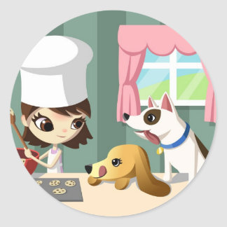 Maddi and the Hungry Pups Classic Round Sticker