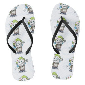MADDI CUSTOM Black STRAP SLIM MONSTER Flip Flops